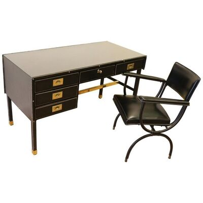 Jacques Adnet, 'Rare Desk and Armchair by Jacques Adnet, Stitched Leather and Skaï, 1950s', ca. 1950
