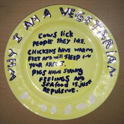 "Kim Dingle, 'Rare ""Why I am a Vegetarian"" Kim Dingle Art Plate', 1990-1999"