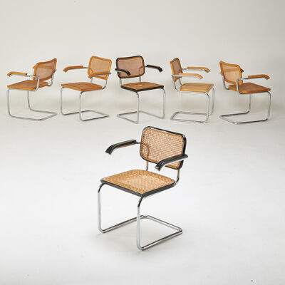 "Marcel Breuer, 'Six ""Cesca"" arm chairs (4 natural, 2 black)', 1970s"