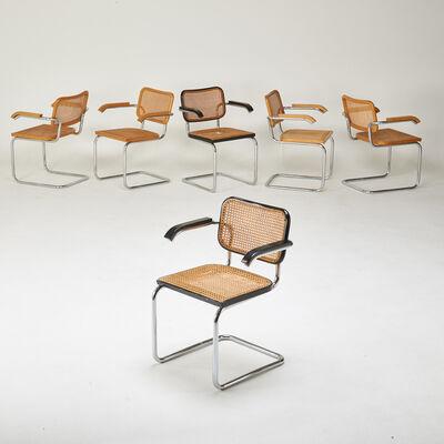 "Marcel Breuer, 'Six ""Cesca"" arm chairs (4 natural, 2 black)', 1970s"