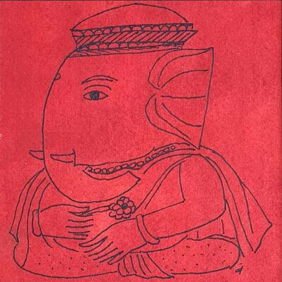 "Badri Narayan, 'Ganesha, Ink & Watercolor on Paper, Red, Black by Padmashree Artist ""In Stock""', ca. Circa"