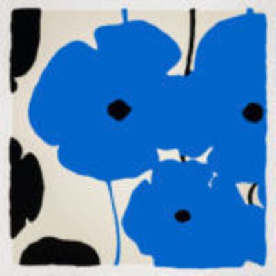 Donald Sultan, 'Blue & Black Poppies Feb 3 2020', 2020