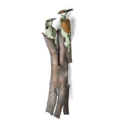 Jozephine Wortelboer, 'Two green bee-eaters on bark', 2019