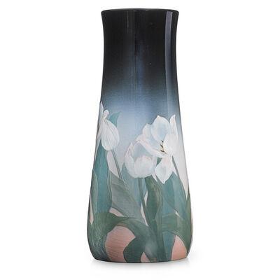 Kataro Shirayamadani, 'Fine, tall Iris Glaze vase with tulips, Cincinnati, OH', 1907