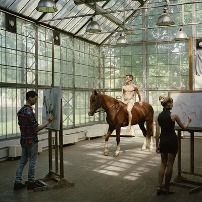 Valery Katsuba, 'Painting session with horse. War painting pavilion of Professor Vladimir Zagonek. Academy of Fine Arts. Saint Petersburg', 2014