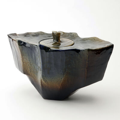 Ohi Toshio, 'Sonsu (Reverence), Amber and Black Ohi Ceremonial Vessel', 2012