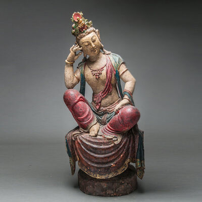Unknown Chinese, 'Ming Wooden Polychromed Bodhisattva', 1368 AD to 1644 AD