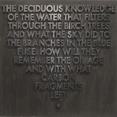 Robert Montgomery, 'Seattle Poem (Deciduous Knowledge)', 2015