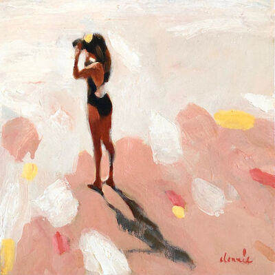Elizabeth Lennie, '''Ocean View'' Abstract oil painting of women in black bathing suit and neutral pink background', 2019
