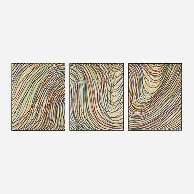 Sol LeWitt, 'Wavy Lines on Gray (triptych)', 1998