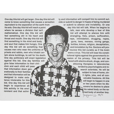 David Wojnarowicz, 'Untitled (One Day This Kid...)'