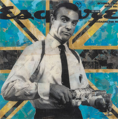 """Robert Mars, '""""Higher Calling"""" - American Dreams, iconic, culture, history, pop culture, pop, popexpressionism, neopop, americana, Hollywood, fashion, celebrity, brand names, collages, resin, James Bond, Bond, 007, Sean Connery', 2021"""