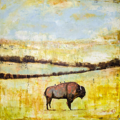 Janice Sugg, 'Western Bison on Landscape with Bird', 2018