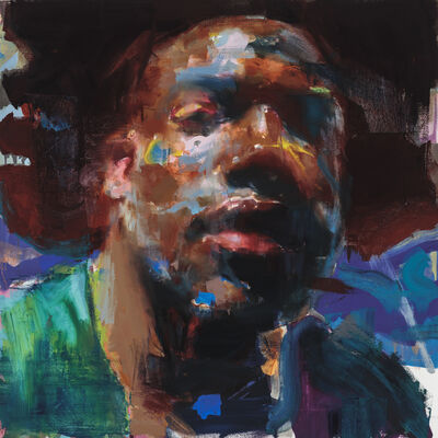 Jérôme Lagarrigue, 'Self Portrait in Blue and Maroon', 2019