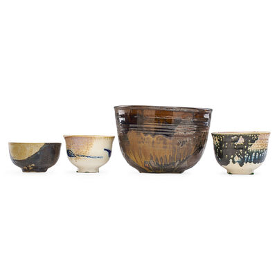 Toshiko Takaezu, 'Large bowl and three tea bowls, USA'