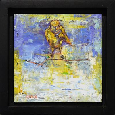 Janice Sugg, 'Abstract Bird Painting 'Yellow Sparrow' Urban Wildlife Art, Contemporary Nature Scene', 2017