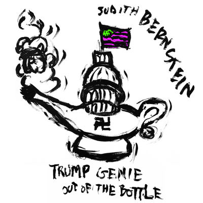 Judith Bernstein, 'Trump Genie – Green & Purple Flag', 2017