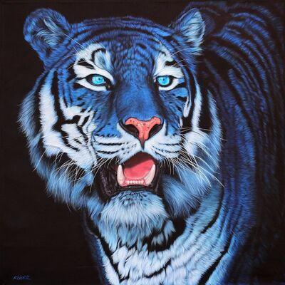 Helmut Koller, 'BLUE TIGER ON BLACK', 2012