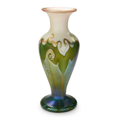 Quezal, 'Baluster Vase With Pulled-Feather Pattern, New York', Early 20th C.