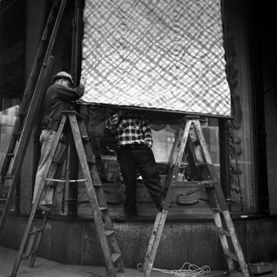 "Vivian Maier, 'VM1953W03390-01-MC - New York, NY, November 19, 1953, Men Working on Awning, 12"" X 12""', Printed 2017"
