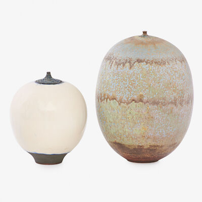 Rose Cabat, 'Two large Feelies, one with carved collar, the other in a rare matte crystalline glaze, Arizona'