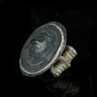 Ancient, 'Roman Silver Tutulus Disc Brooch Pin', Circa 2nd Century AD