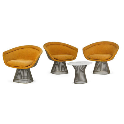 Warren Platner, 'Three armchairs and side table, New York', 1970s