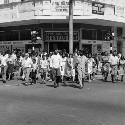 David Goldblatt, 'Saturday morning at the corner of Commissioner and Trichardt Streets, Boksburg', 1979-1980