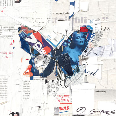 "Derek Gores, '""Auto Pilot"" collage of a blue butterfly with white background', 2018"