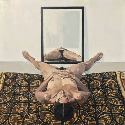 Ingrid Capozzoli Flinn, 'Nude on Batik with Mirror', 2006