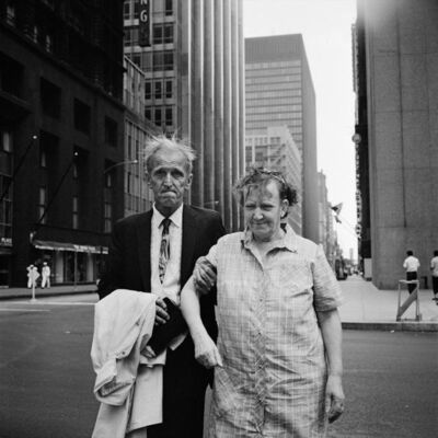 "Vivian Maier, 'VM19XXW03095-09-MC - New York, NY, c. 1960, Old Couple, 12"" X 12""', Printed 2017"