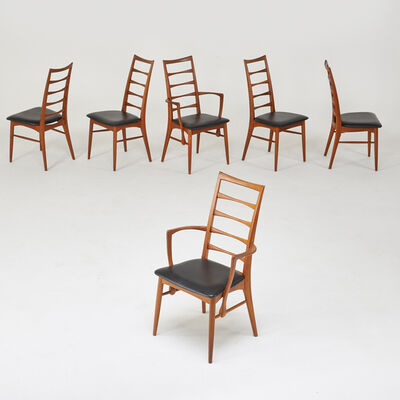 """Koefods Hornslet, 'Six """"Eva"""" chairs, two arm- and four side-', 1970's"""