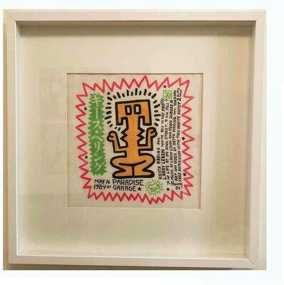 "Keith Haring, '""Paradise Garage"", 1984, Haring's 26th Birthday Celebration Party Invitation, Silkscreen on Handkerchief ', 1984"