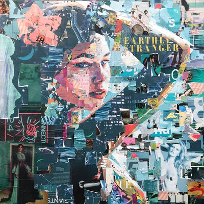 "Derek Gores, '""Earthly Stranger"" teal and pink collage portrait of a woman with flower', 2019"