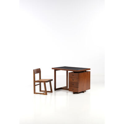 Pierre Jeanneret, 'Set of a desk and a chair', 1960