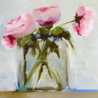 """Jill Matthews, '""""Early Peonies"""" impressionist style oil painting of a bouquet of young peonies in a tall glass vase ', 2021"""