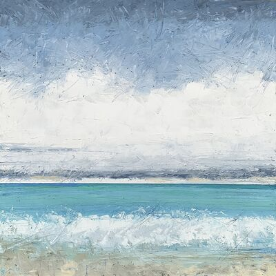 """Alison Haley Paul, '""""Layering"""" Impasto mixed media painting of a turquoise ocean beneath cloudy sky', 2019"""