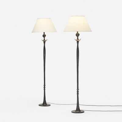 After Alberto Giacometti, 'Tete de Femme floor lamps, pair', 1933-34