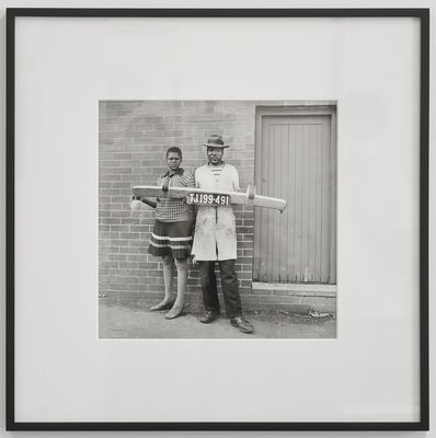 David Goldblatt, 'She said to him 'You be the driver and I'll be the madam,' then they picked up the fender and posed, Hillbrow', 1975
