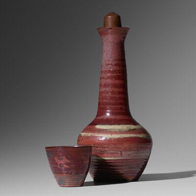 Loloma Pottery, 'stoppered bottle and cup', 1949