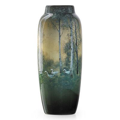 Kataro Shirayamadani, 'Fine Iris Glaze vase with geese in landscape with birch trees, Cincinnati, OH', 1909