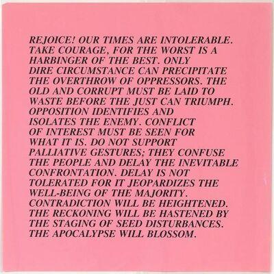 Jenny Holzer, 'Intolerable Times - Inflammatory Essays', 1982