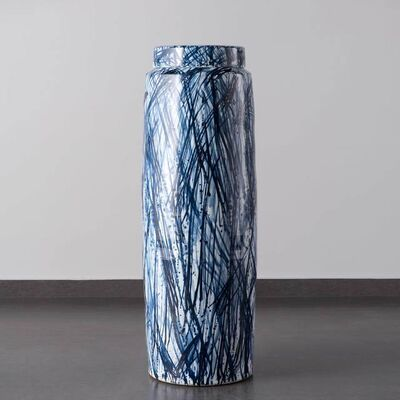 Felicity Aylieff, 'Blue & White Monumental Scribble Lidded Vase', 2018