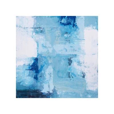 "John Schuyler, '""Viaggio #63"" mixed media abstract painting in shades of blue', 2020"
