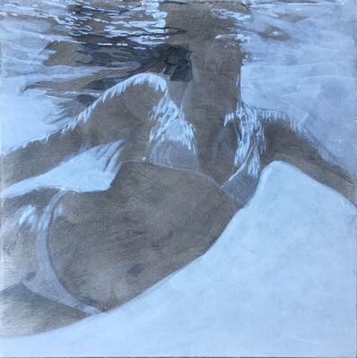 """Carol Bennett, '""""Amy Being Cool"""" black and white oil painting of a woman swimming underwater', 2019"""