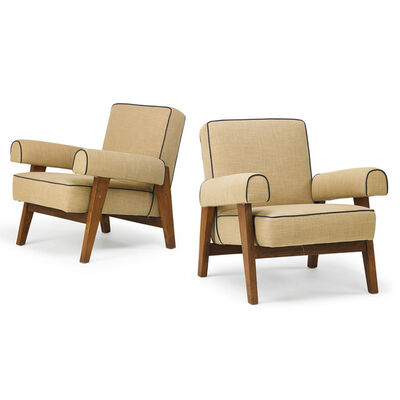 Pierre Jeanneret, 'Pair of lounge chairs from the High Court, Chandigarh, India/France', 1950s