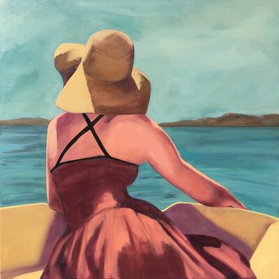 """T.S. Harris, '""""Afternoon on the Water"""" Woman in a Sunhat on a Boat, Blues, Ochre, Reds', 2010-2018"""