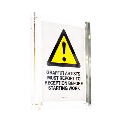 Banksy, 'GRAFFITI ARTISTS MUST REPORT TO RECEPTION STICKER (Framed)', ca. 2004