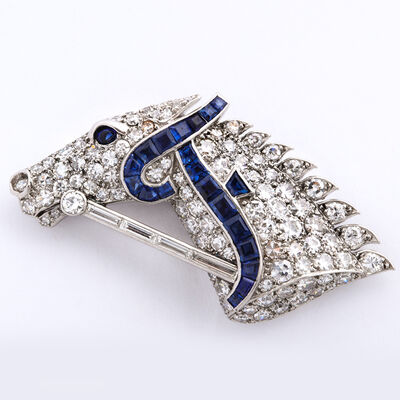 Cartier, '1920s Diamond and Sapphire Horse Head Brooch by Cartier', ca. 1920