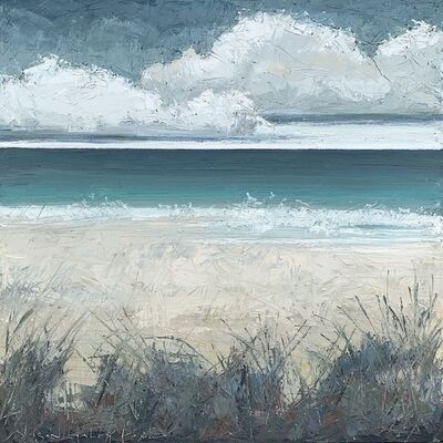"Alison Haley Paul, '""Seagrass"" Mixed media impasto seascape of clouds over a teal and gray sea and dunes', 2019"